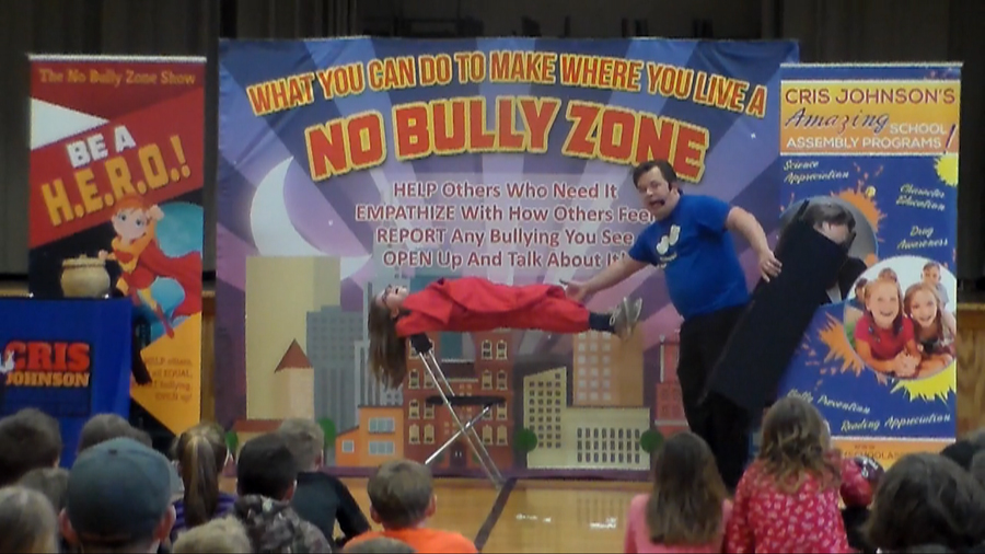 No Bully Zone, anti-bullying, bullying prevention, bullying prevention assembly, Cris Johnson